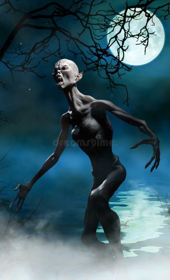 Monstruo del vampiro en pantano stock de ilustración