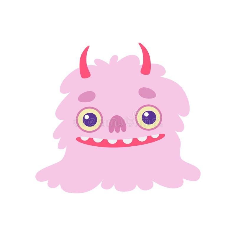 Monstruo dentudo sonriente lindo con los cuernos, ejemplo extranjero amistoso mullido del vector del personaje de dibujos animado libre illustration