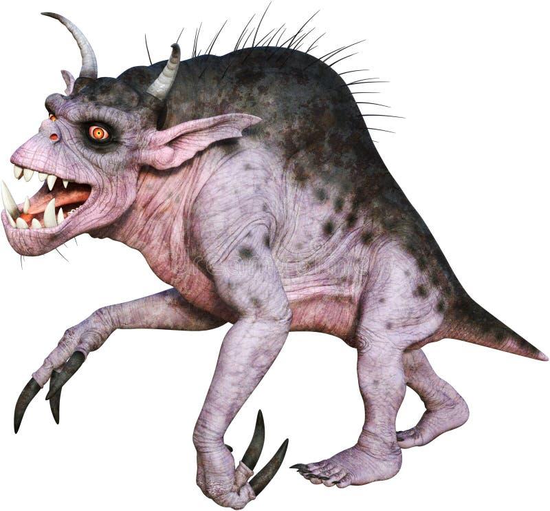 Monstruo divertido de la historieta, bestia, animal aislado, mítico ilustración del vector