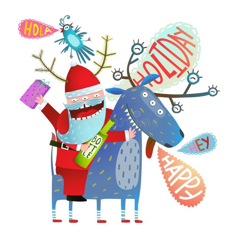 Monstruo divertido Santa Claus que se sienta en el saludo de los ciervos con días de fiesta de la Navidad o del Año Nuevo ilustración del vector