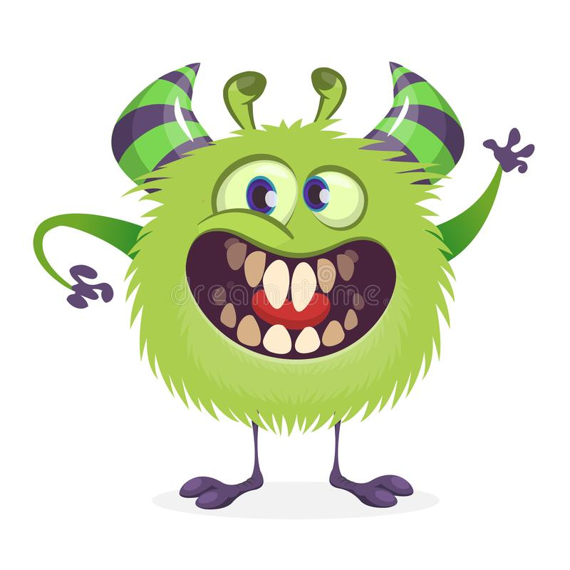 Monstruo enojado del verde de la historieta Ejemplo del vector del carácter del monstruo para Halloween stock de ilustración