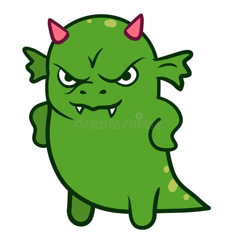 Monstruo enojado lindo del dragón ilustración del vector