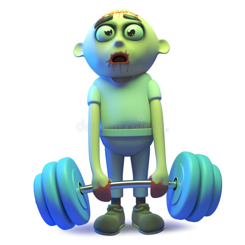 Monstruo estúpido que consigue en pesos de elevación de la forma, del zombi de los undead ejemplo 3d ilustración del vector