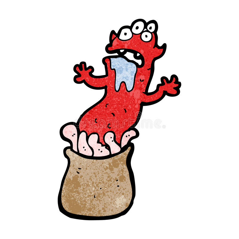 monstruo extraño de la historieta ilustración del vector