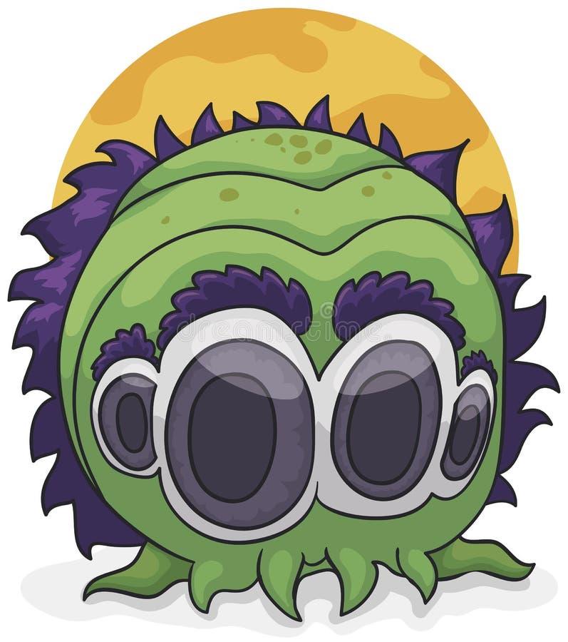Monstruo extraño del cefalópodo con cuatro ojos y pelo púrpura, ejemplo del vector stock de ilustración