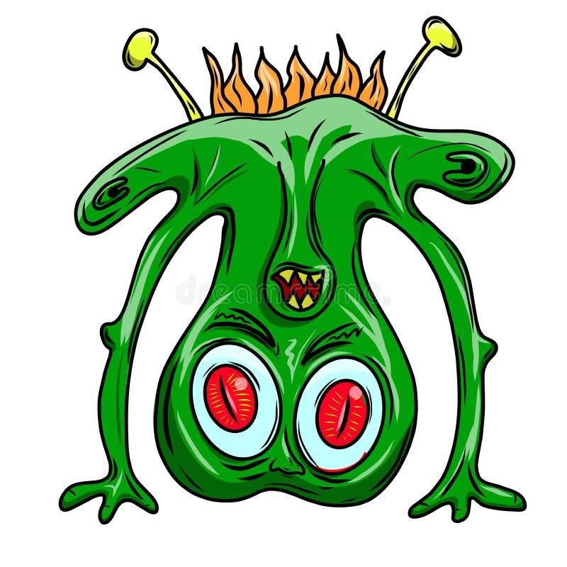 Monstruo extranjero divertido, chiflado loco del espacio Piel verde ilustración del vector