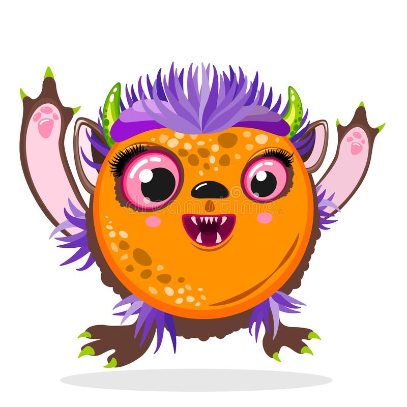 Monstruo feliz de la historieta de la expresión, monstruo de la muchacha del día de fiesta de Halloween stock de ilustración