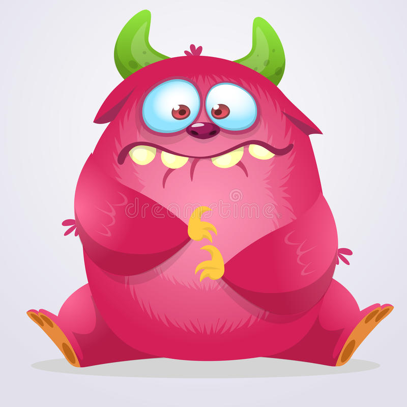 Monstruo feliz de la historieta Monstruo peludo rosado de Halloween Colección grande de monstruos lindos Carácter de Halloween Gr ilustración del vector