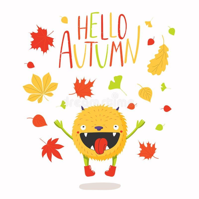 Monstruo feliz lindo en otoño stock de ilustración