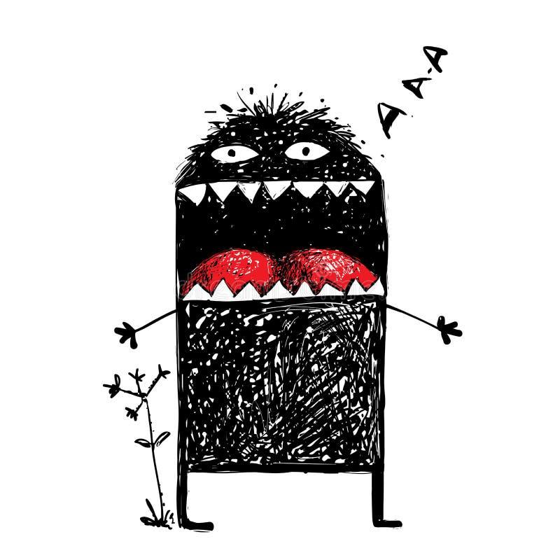 Monstruo feo del carácter que grita stock de ilustración