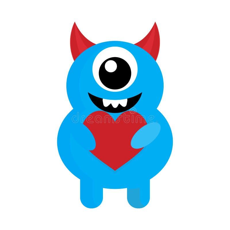 Monstruo lindo con amor rojo del corazón libre illustration