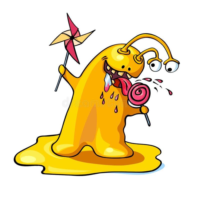 Monstruo lindo del amarillo de la historieta aislado en el fondo blanco ilustración del vector