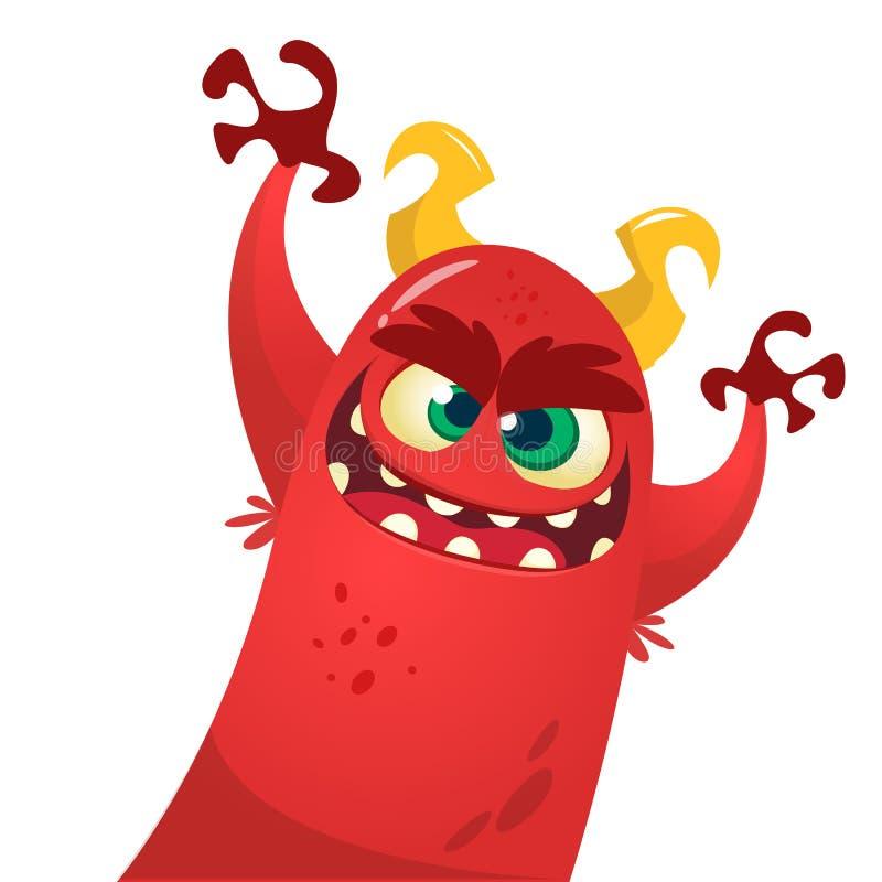 Monstruo lindo del diablo Carácter de Halloween de la historieta del vector libre illustration