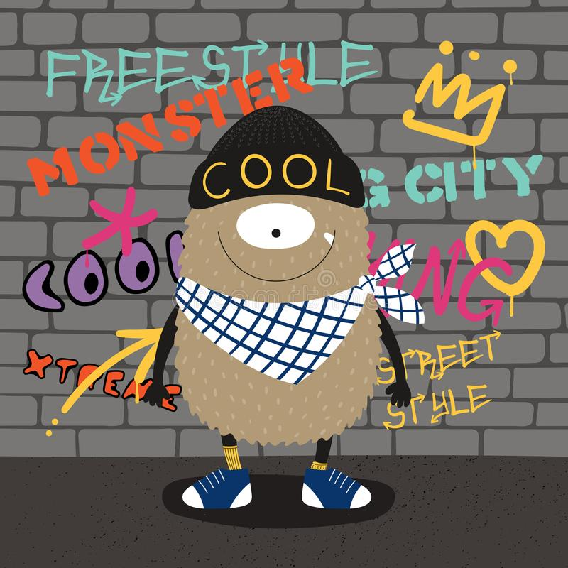 Monstruo lindo del estilo de la calle libre illustration