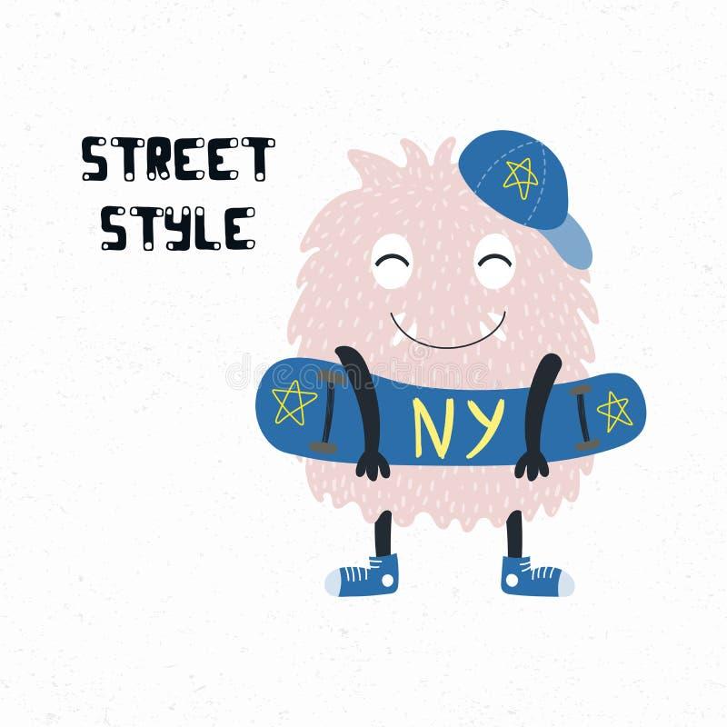 Monstruo lindo del estilo de la calle ilustración del vector
