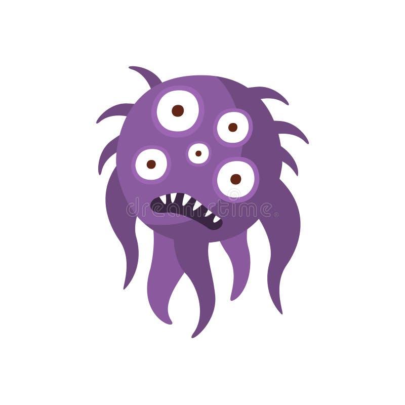 Monstruo malo agresivo melenudo púrpura de las bacterias con el ejemplo del vector de la historieta de los dientes agudos y de ci libre illustration