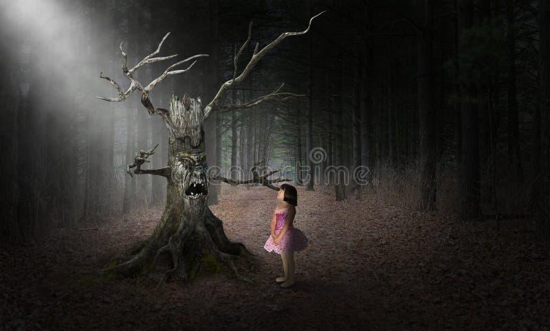 Monstruo malvado de Halloween del árbol, muchacha, surrealista imágenes de archivo libres de regalías