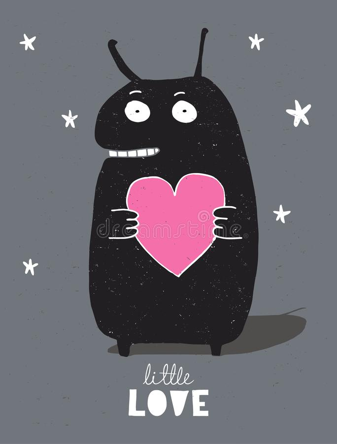 Monstruo negro lindo con el corazón rosado grande aislado en un fondo oscuro estrellado stock de ilustración