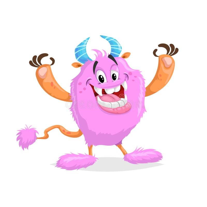 Monstruo rosado alegre de la historieta linda Carácter cómico sonriente fluffed grande de la cara con los cuernos y la cola S?mbo libre illustration