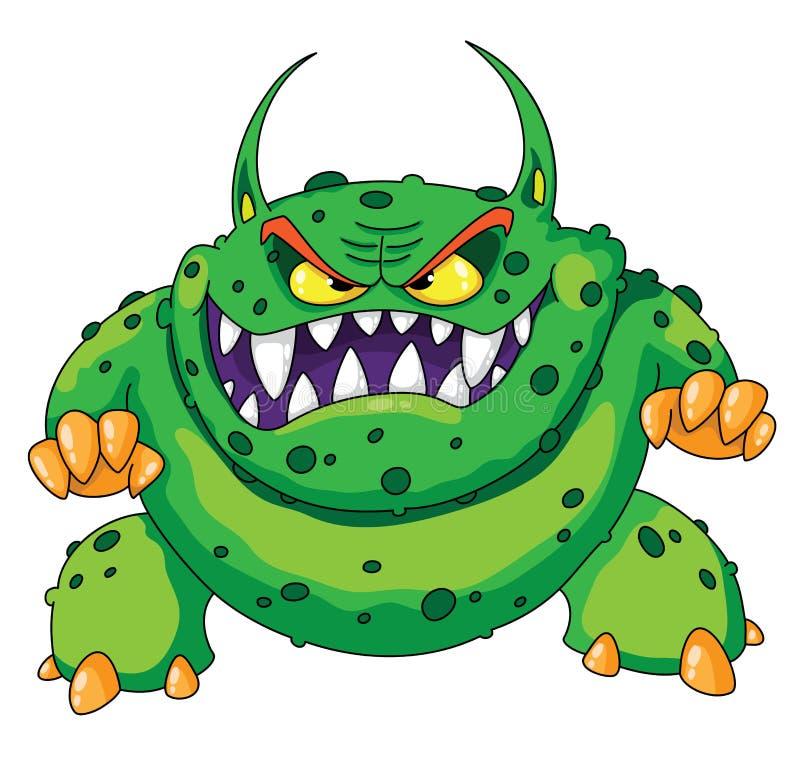 Monstruo verde enojado ilustración del vector