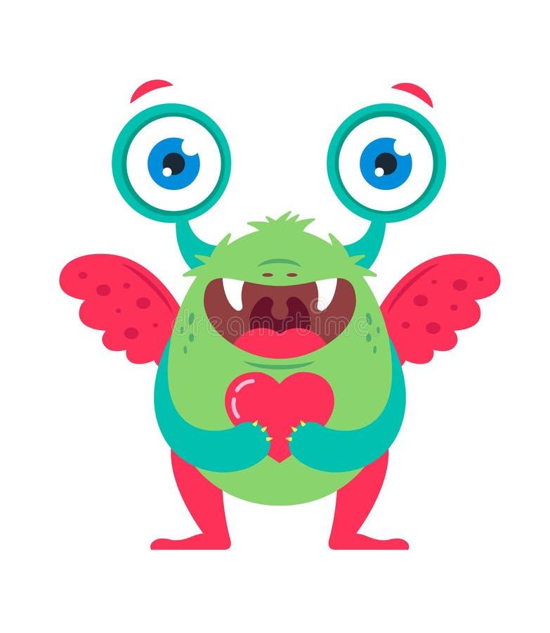 Monstruo verde lindo con un coraz?n en sus manos que esperan amado ilustración del vector
