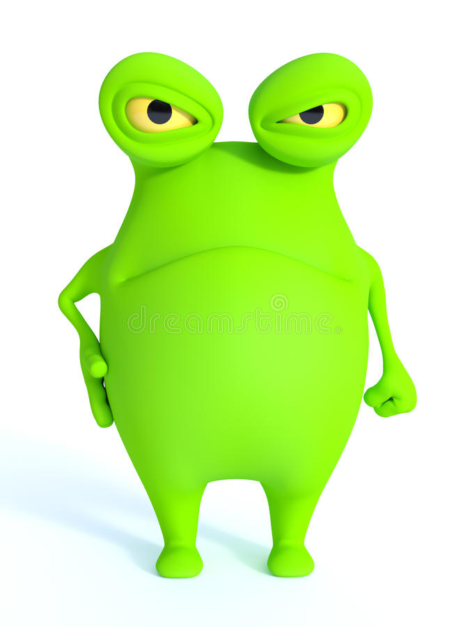 Monstruo verde lindo que parece muy enojado libre illustration