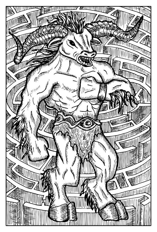 Monstruo y laberinto, de Minotaur ejemplo dibujado mano libre illustration