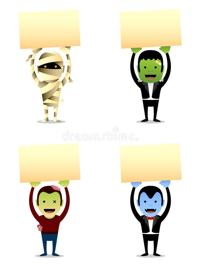 Monstruos de Halloween con la muestra stock de ilustración