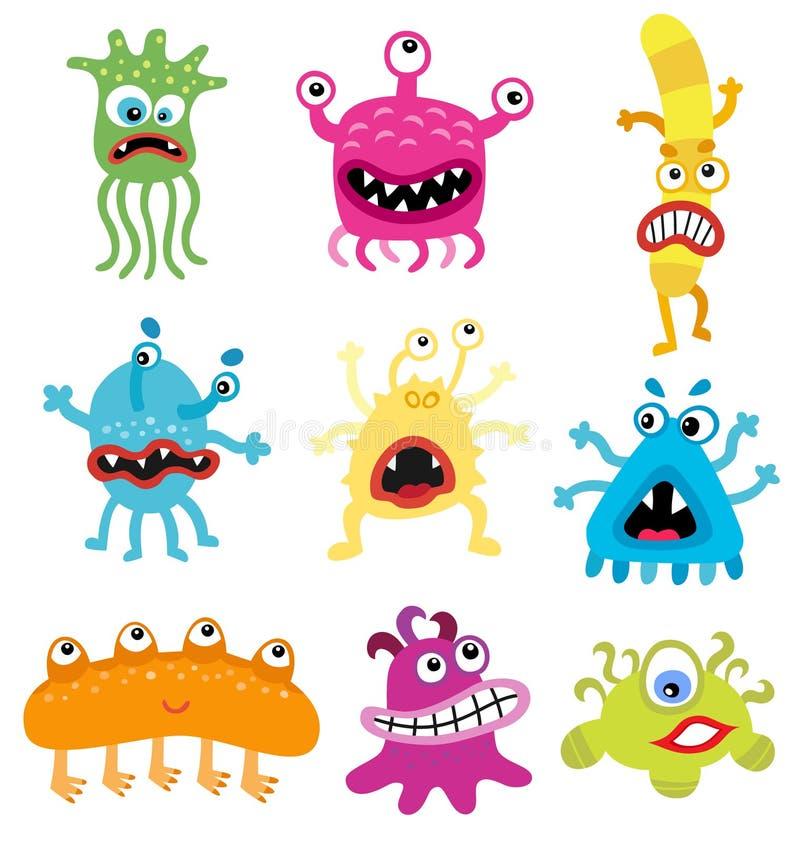 Monstruos de la historieta y bacterias lindos y divertidos Microbios del vector aislados en blanco stock de ilustración