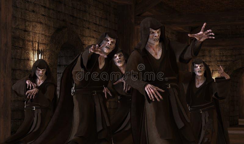 monstruos de los vampiros del ejemplo 3D en un fondo medieval stock de ilustración