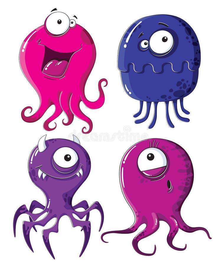 Monstruos divertidos ilustración del vector