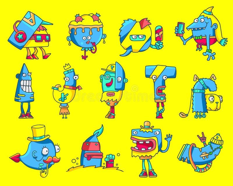Monstruos divertidos del inconformista de la historieta stock de ilustración