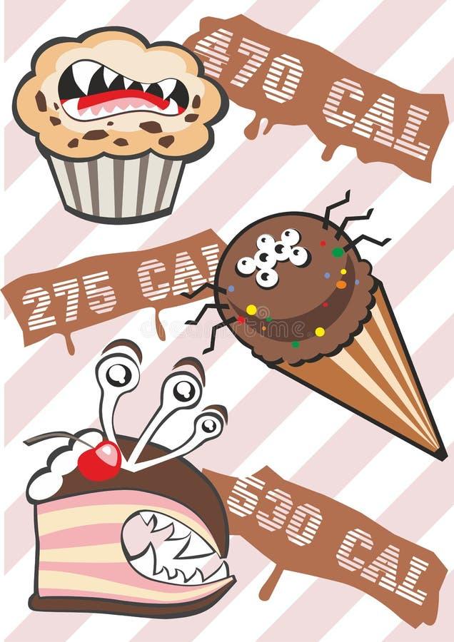 Monstruos dulces y calorías ilustración del vector