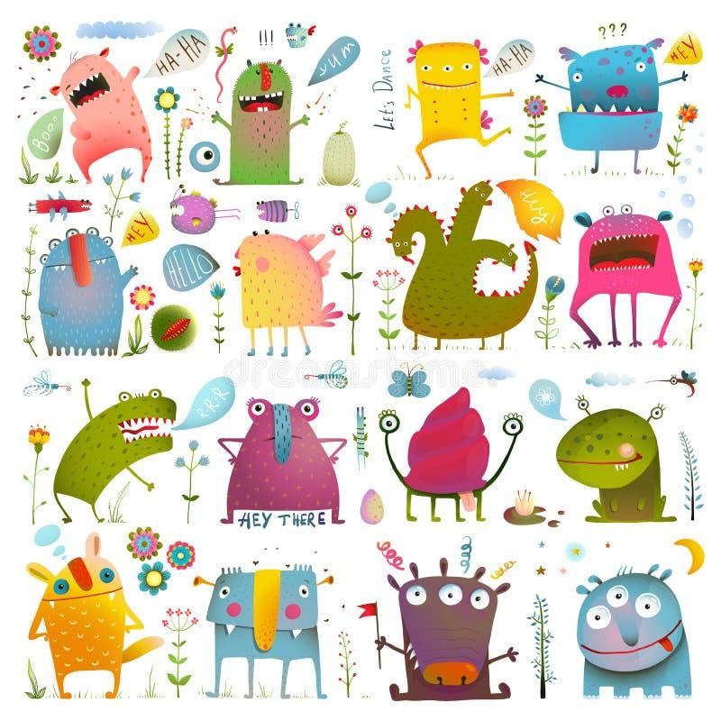 Monstruos lindos de la historieta de la diversión para el diseño de los niños stock de ilustración