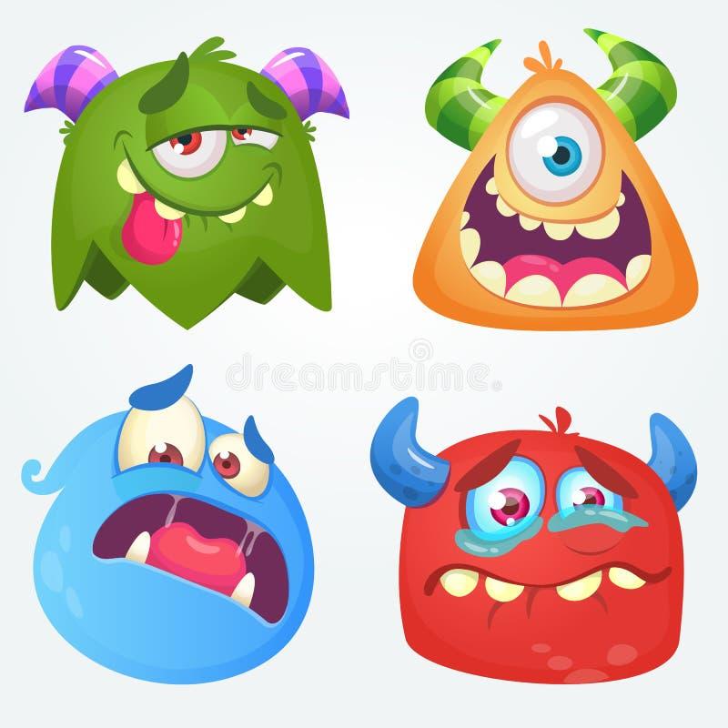 Monstruos lindos de la historieta Sistema del vector de 4 iconos del monstruo de Halloween libre illustration