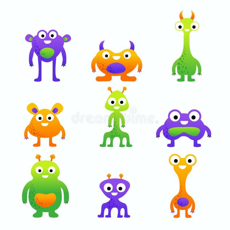 Monstruos lindos divertidos de la historieta fijados para los niños stock de ilustración