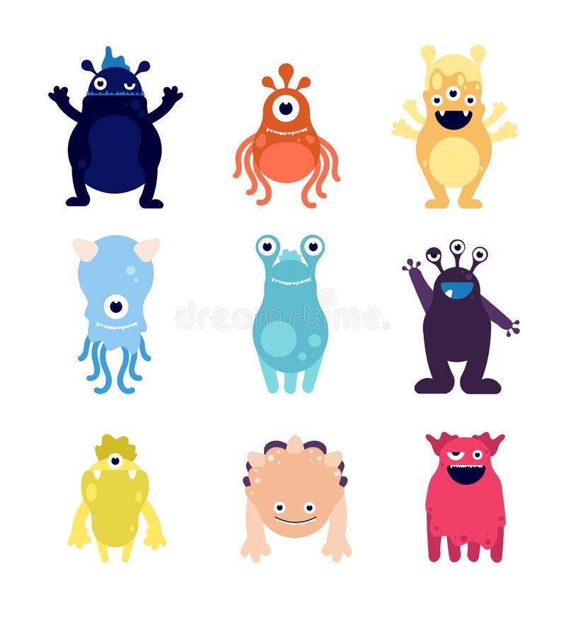 Monstruos lindos Mascotas divertidas de los extranjeros del monstruo Caracteres aislados juguetes hambrientos locos del vector de stock de ilustración