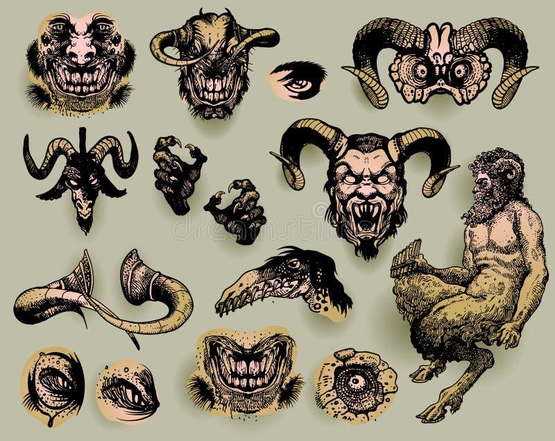 Monstruos mitológicos stock de ilustración