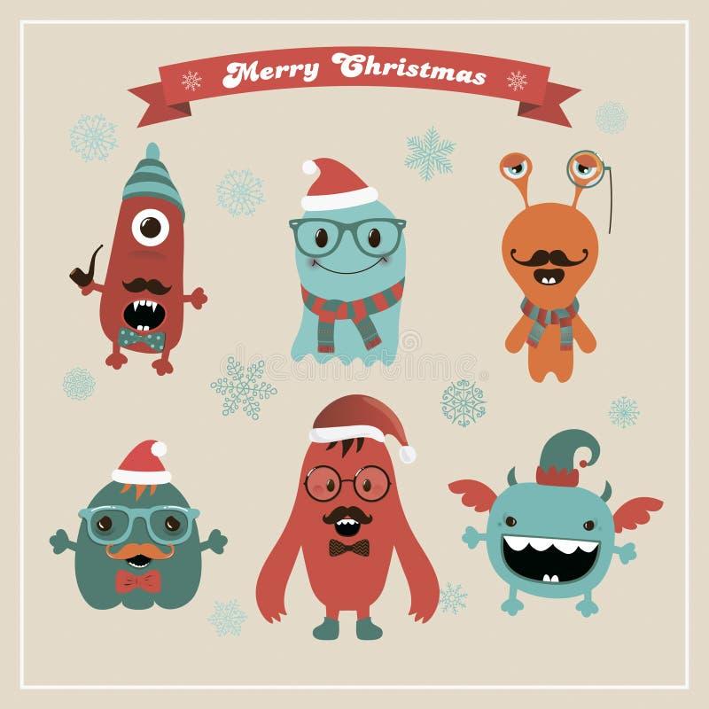 Monstruos retros lindos de la Navidad del inconformista del vector fijados stock de ilustración
