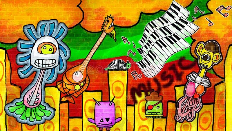 Monstruos sonrientes que disfrutan de la música la pared colorida de la pintura ilustración del vector
