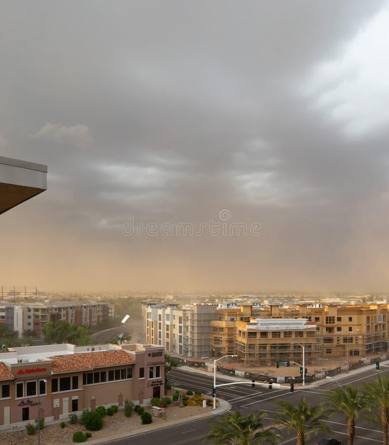 Monsun burza uderza Scottsdale, Arizona zdjęcie stock