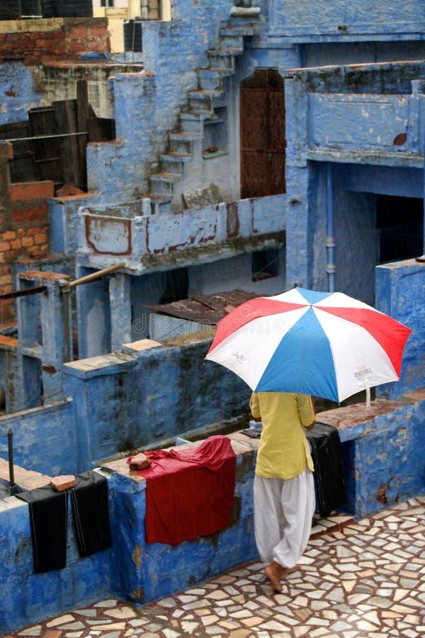 Monsun w India, błękitny miasto Jodhpur obrazy royalty free