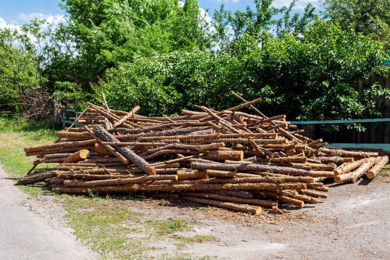 Montão caótico grande dos logs de madeira do pinho armazenados perto da estrada rural na vila do país Preparação e armazenam imagens de stock