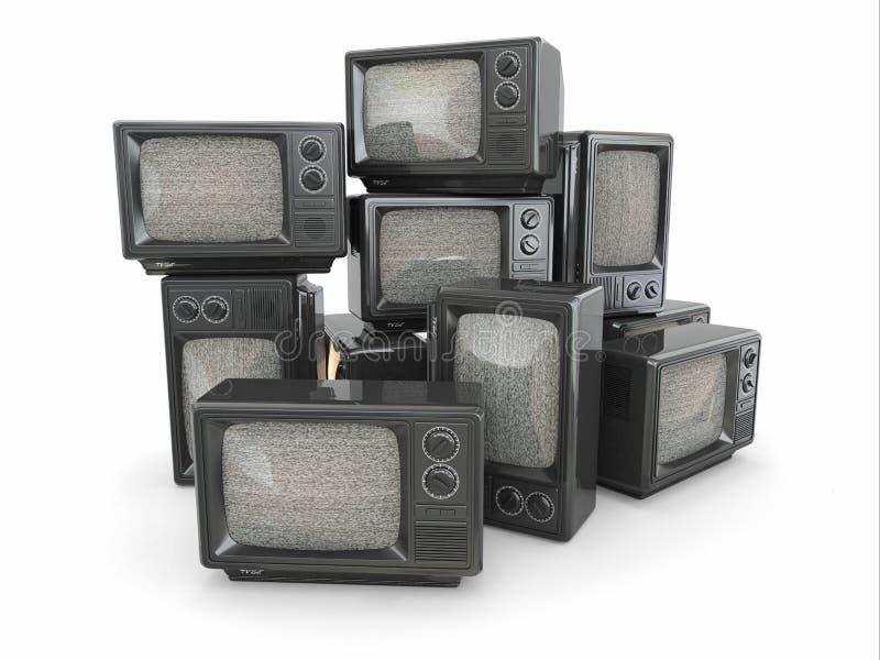 Montão da tevê do vintage. Extremidade da televisão ilustração stock