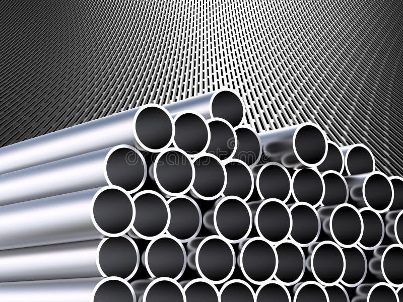 Montão das tubulações brilhantes do metal ilustração do vetor