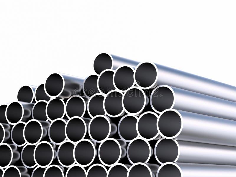 Montão das tubulações brilhantes do metal isoladas no branco ilustração royalty free