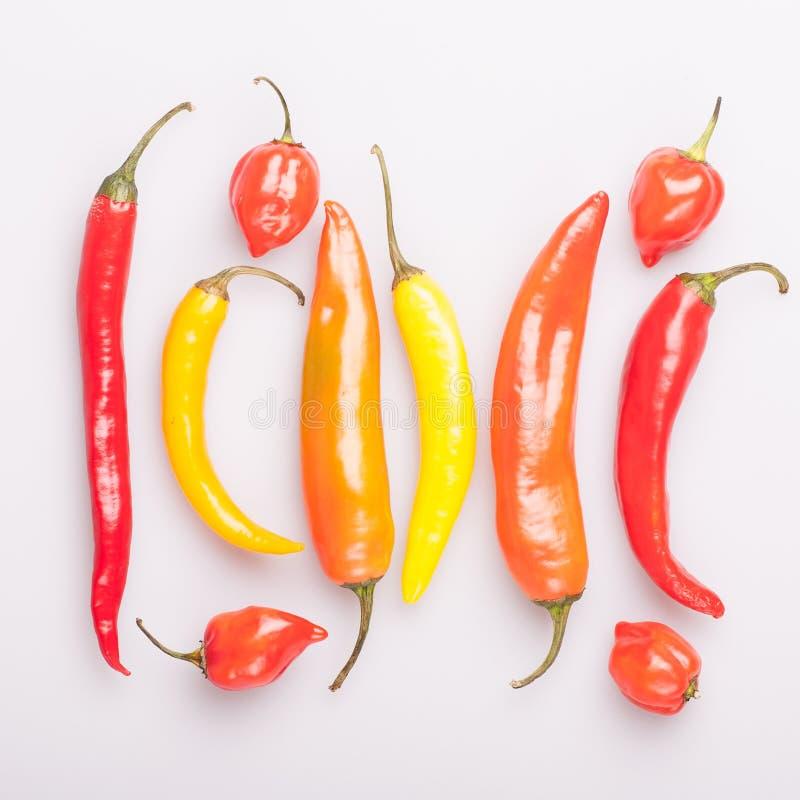 Montão das várias pimentas de pimentão isoladas no fundo branco Cozinhando ingredientes, gosto do spicey e conceito do alimento b foto de stock