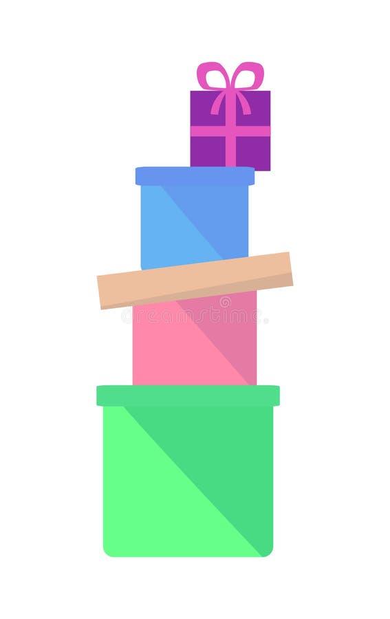 Montão de caixas coloridas com vetor liso dos presentes ilustração do vetor