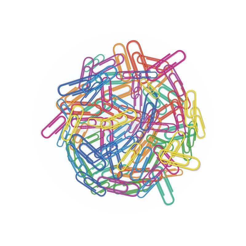 Montão de clipes de papel coloridos nas cores diferentes vermelhas, verdes, azuis, cor-de-rosa ou de laranja isolada no fundo bra ilustração do vetor