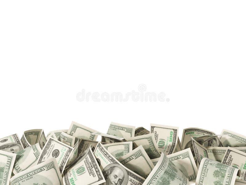 Montão de 100 notas de dólar no fundo branco imagem de stock